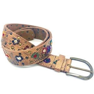 Floral Embroidered Brown Leather Belt